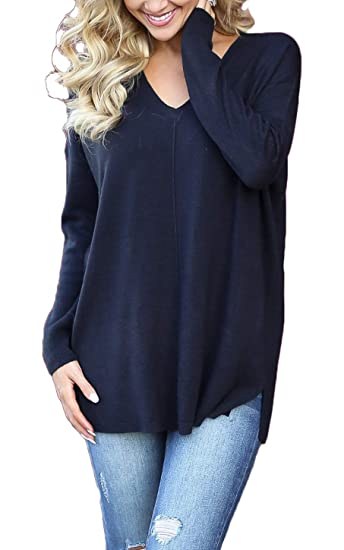 0aee3830c4a8 Newchoice Women's Basic V-Neck Plus Size Side Split T-Shirts Solid Blouses  Long