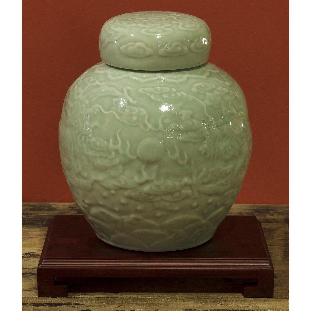 ChinaFurnitureOnline Porcelain Jar, Hand Crafted Imperial Dragon Ginger Jar with Lid Green Celadon Glaze