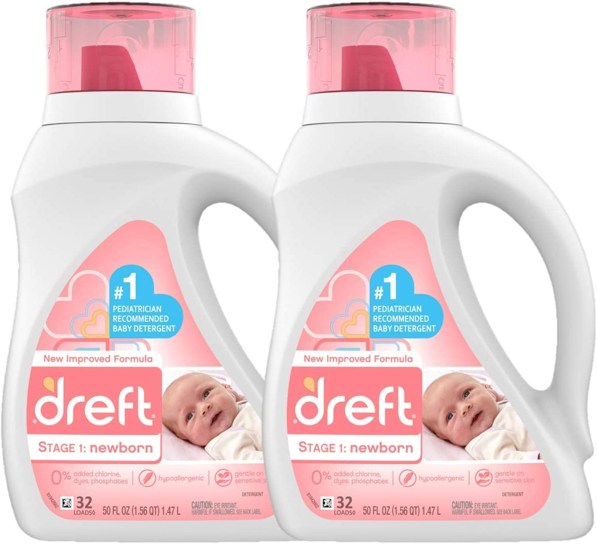 Dreft Stage 1: Newborn Hypoallergenic Liquid Baby Laundry Detergent (HE), Natural for Baby, Newborn, or Infant, 50 Ounce (32 Loads), 2 Count (Packaging May Vary): Health & Personal Care