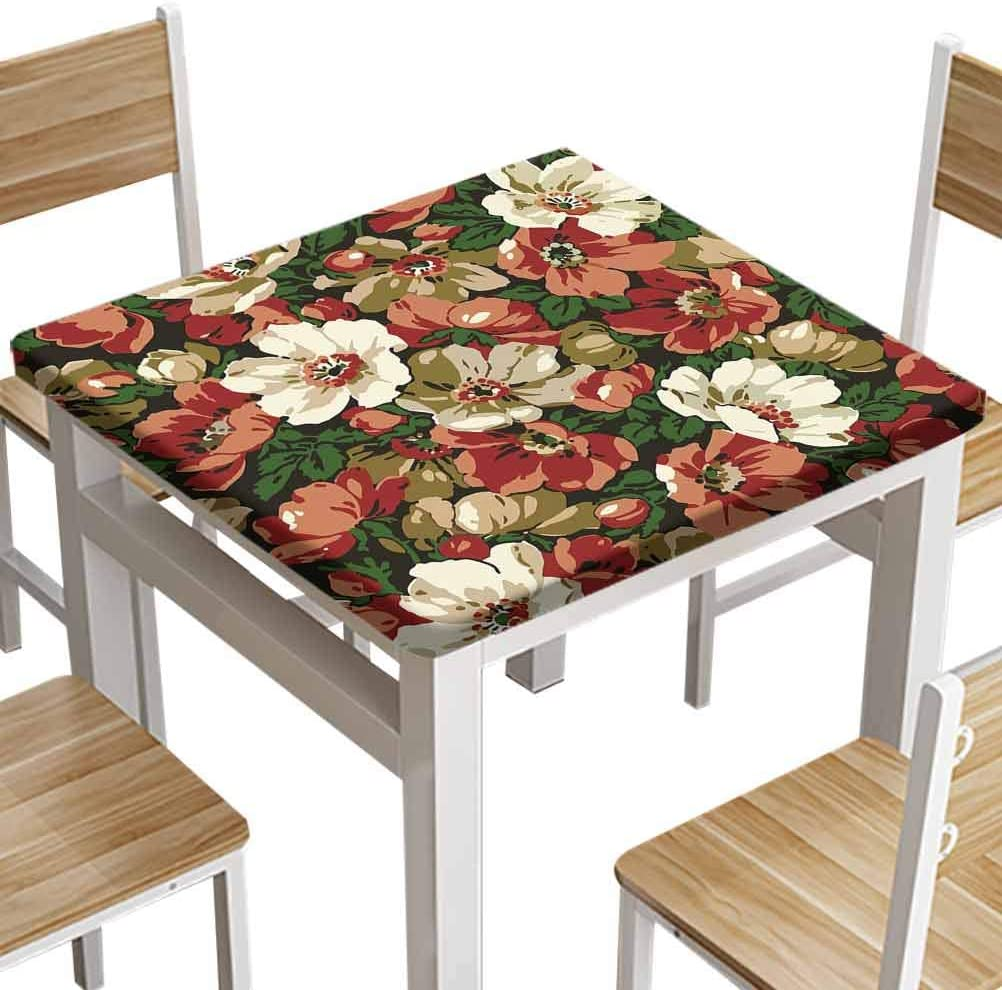 oobon Print Fabric TableCloths, Flowers Classic Apple Border Beautiful Brown Baroque Flowers Vintage bloomingOutdoor Table Cover Square Tables Home Indoor, 60x60 inch