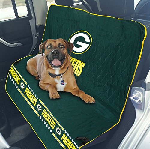 Pets First NFL CAR SEAT COVER - GREEN BAY PACKERS Waterproof, Non-slip BEST Football LICENSED PET SEAT cover for DOGS & CATS.