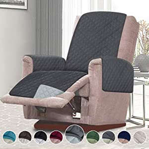 RHF Reversible Sofa Cover-Great for Home with Kids and Pets(Couch Cover for Dogs)-Features Elastic Strap (XRecliner: Darkgrey/LightGrey)