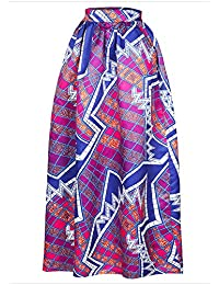 c2bc89c0435 Women African Printed Casual Maxi Skirt Flared Skirt Multisize A Line Skirt  (S-3XL