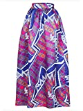 Afibi Women African Printed Casual Maxi Skirt Flared Skirt Multisize A Line Skirt (Large, Pattern 5)