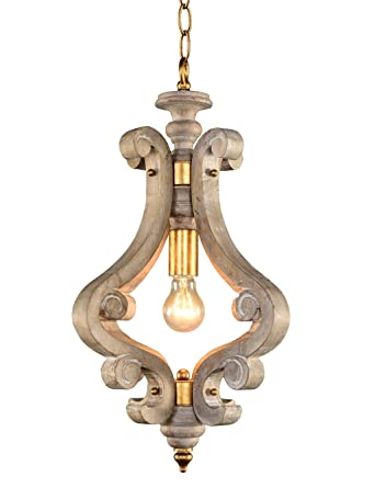 Docheer 1 light vintage wooden chandelier lamp white washed wood docheer 1 light vintage wooden chandelier lamp white washed wood gold rust iron ceiling chandelier aloadofball Gallery