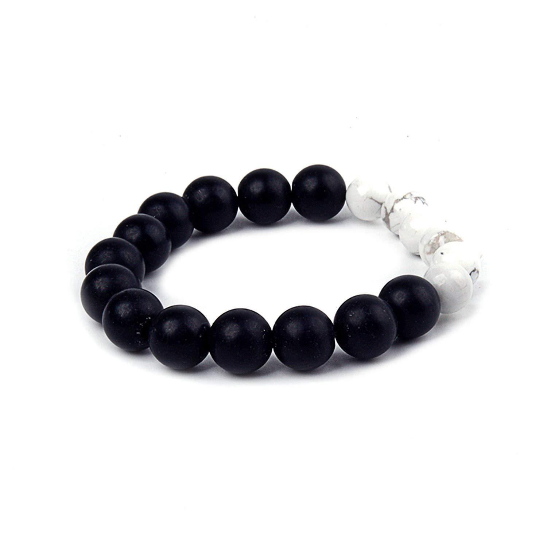 shushiye Fashion Bracelet for Lovers Matte Black Men Women Charm Elastic Strand 10Mm Bead Bracelet