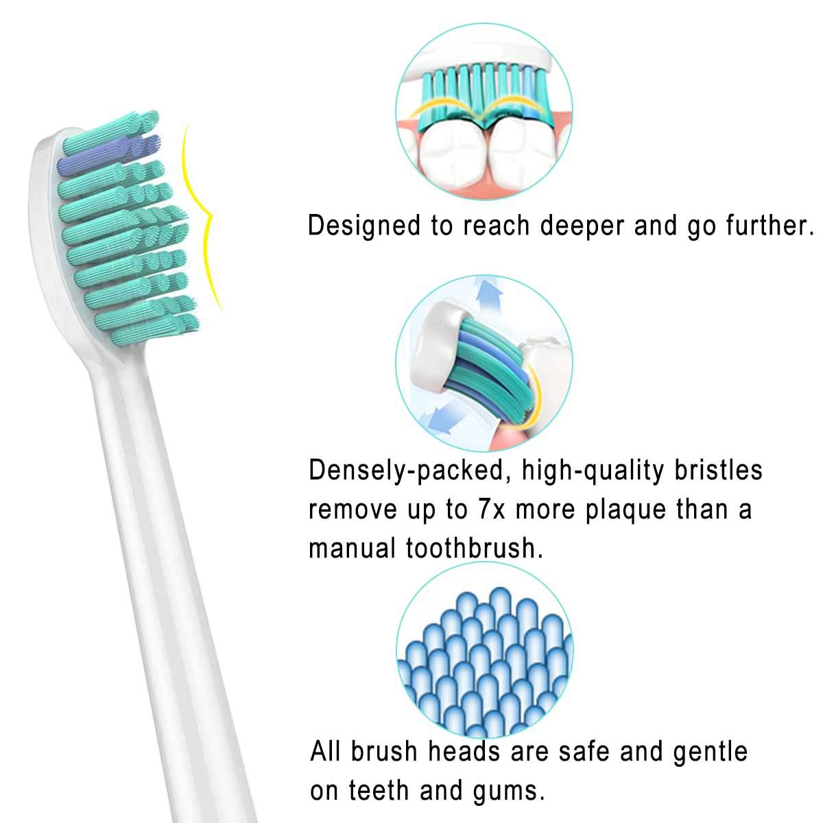 Replacement Toothbrush Heads,10Pack Replacement Heads for Phillips Sonicare DiamondClean,FlexCare,HealthyWhite,EasyClean,Essence+(plus),More Sonic Snap-On Brush Handles