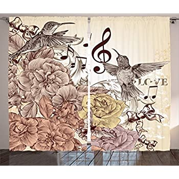 Ambesonne Hummingbirds Decorations Collection, Fashion Flourishes and Birds Butterfly Rose Blossoms Leaves Nostalgia Image, Living Room Bedroom Curtain 2 Panels Set, 108 X 84 Inches, Ivory Brown