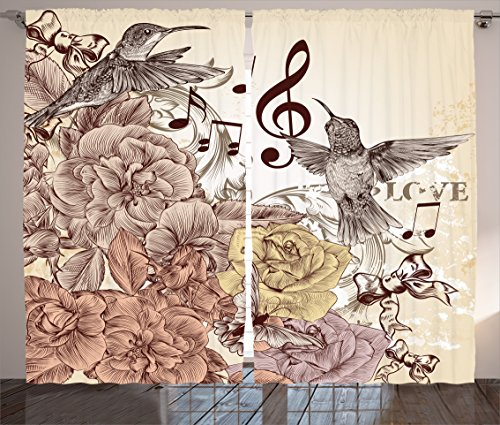 Ambesonne Hummingbirds Decorations Collection, Fashion Flourishes and Birds Butterfly Rose Blossoms Leaves Nostalgia Image, Living Room Bedroom Curtain 2 Panels Set, 108 X 90 Inches, Ivory Brown Double Butterfly Leaf