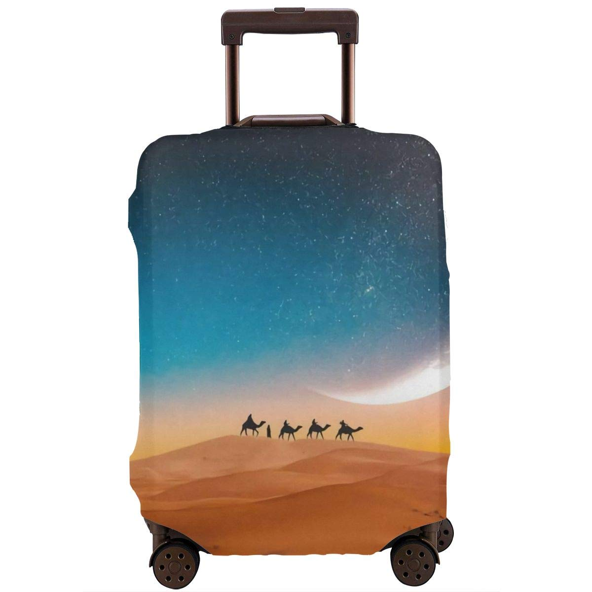 Travel Luggage Cover Suitcase Protector Spandex Washable Zipper Baggage Covers Sunset Morocco Desert Camel Fit 18 To 32 Inch