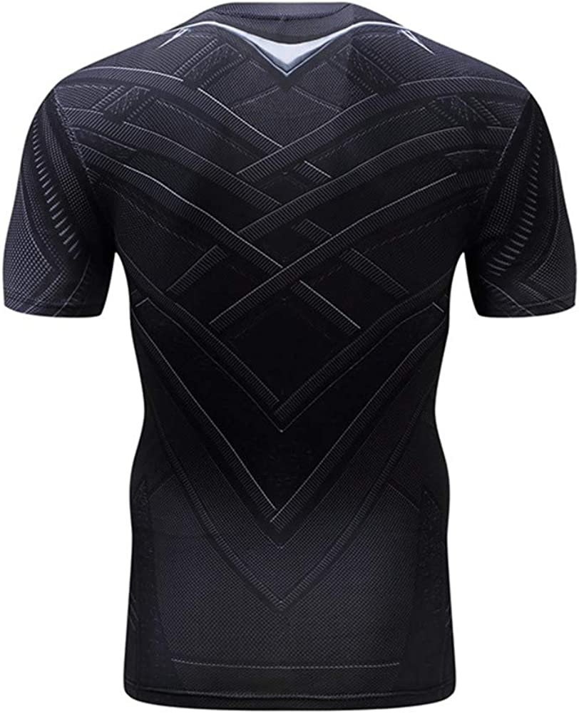Mens Short Sleeve Dri-fit Captain America Compression Workouts Costume Shirt