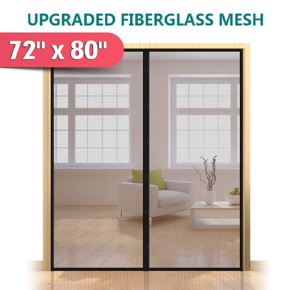 """Upgraded 72""""x80"""" Magnetic Screen Door for French Door, Durable Fiberglass Double Door Screen Mesh Curtain Fits Door Opening Up to 70""""x79'' Keep Bugs Out"""
