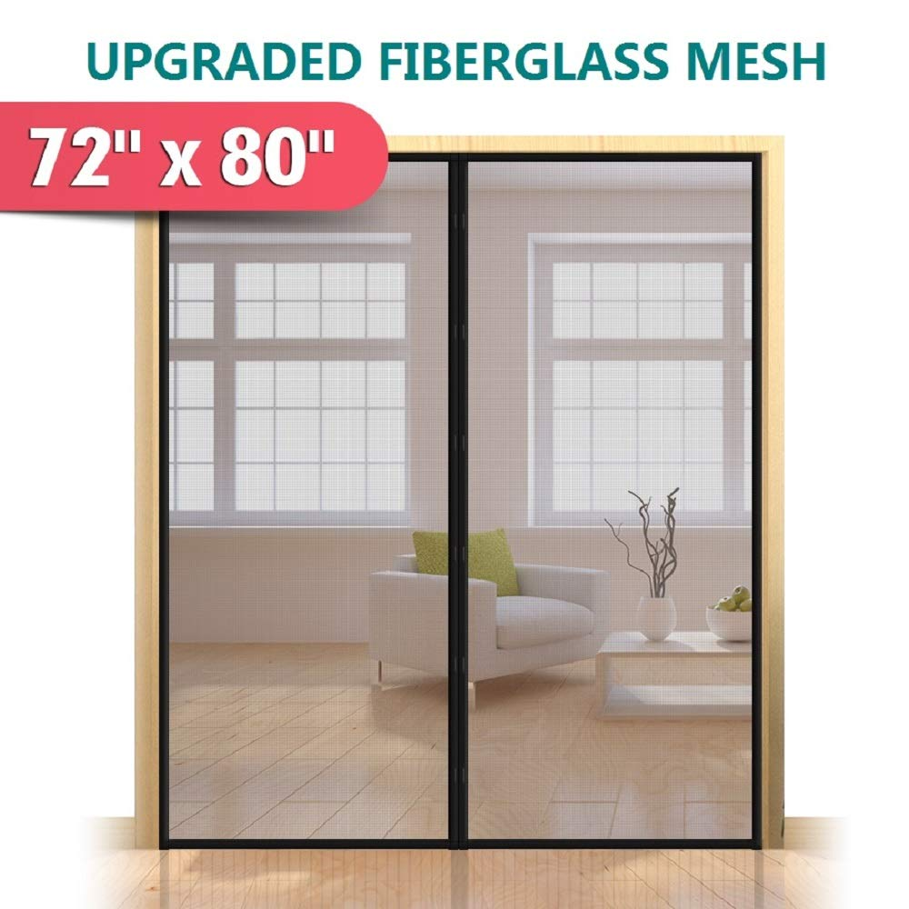 Upgrade Fiberglass Magnetic Screen Door, Fits Doors up to 70 x 79-Inch, Mkicesky French Door Mesh Curtain, with Full Frame Hook&Loop, Keep Bugs Out - Black by Mkicesky