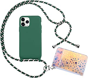 Peacocktion Crossbody iPhone 11 Pro Max Case -TPU Lanyard Strap Phone Holder with Credit Card Holder - Cell Phone Case with Neck Cord - Phone Necklace Cover for iPhone 11 Pro Max 6.5'' (Dark Green)