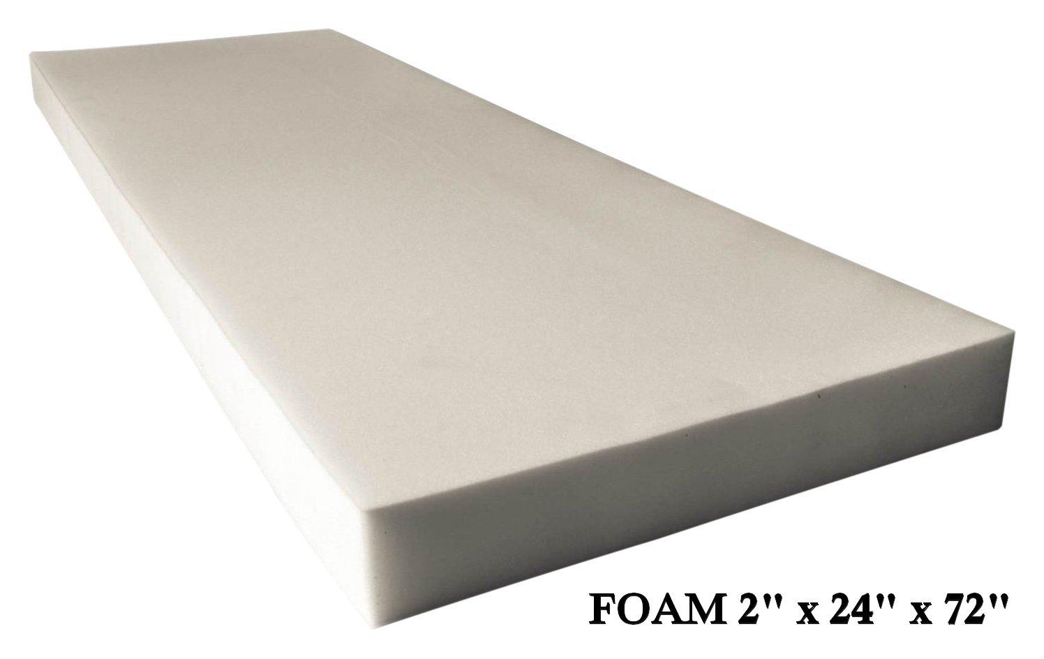 AK TRADING Upholstery Foam High Density Cushion (Seat Replacement, Foam Sheet, Foam Padding), 2'' H x 24'' W x 72'' L by AK TRADING