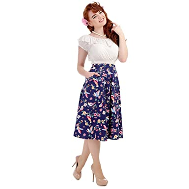 9b9270e9963 Collectif Vintage Women s Flared Tammy Paper Pin-Up Doll Skirt ...
