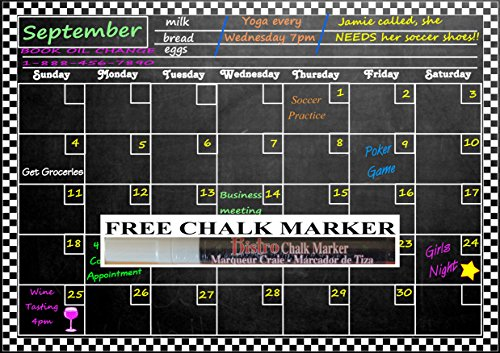 Magnetic Refrigerator Chalkboard Dry Erase Calendar 16 5  X 11 5  Plus Free Chalk Marker  Dusty Black Chalkboard Design