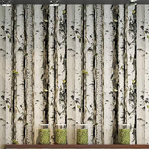 DIY Interior Decorating Vintage PVC Non-Woven Wallpaper Wood Grain Tree Trunk White Birch Tree Coffee Shop Surface Wallpaper
