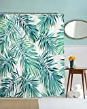 Get Orange Tropical Plants Cartoon Palm Trees Banana Leaves Shower Curtain Mildew Resistant Polyester Fabric Bathroom Fantastic Decorations Bath Curtains Hooks Included 72X72 Inch