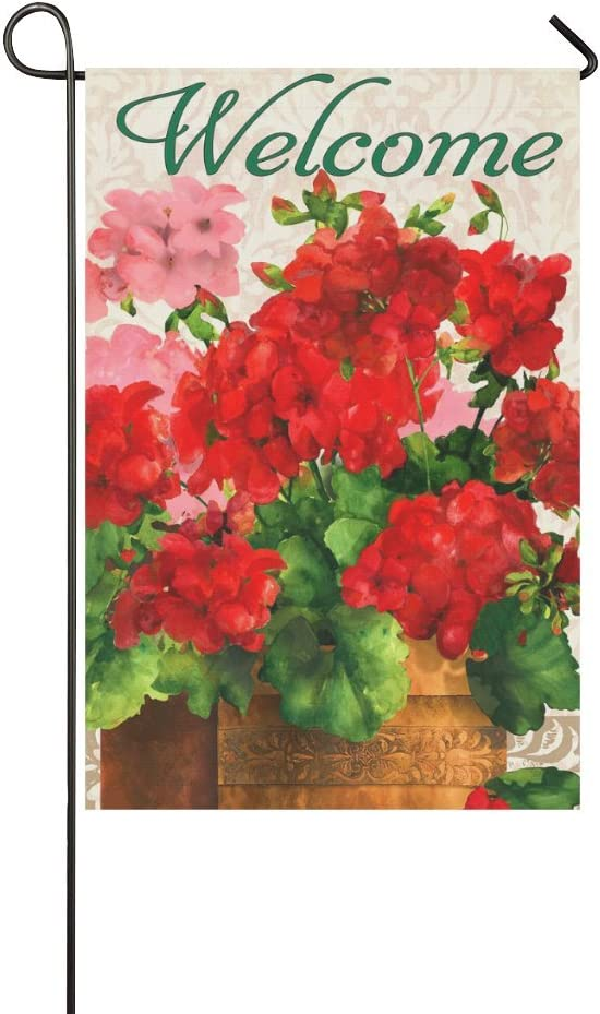 "Small Mim Welcome Red Geraniums Garden Flag Holiday Decoration Double Sided Flag 12.5"" x 18"""