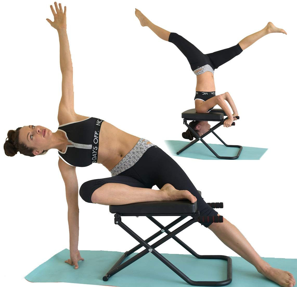 SISYAMA Fitness Yoga Headstand Chair Inversion Bench Workout Manual Longer Wider Bigger Feet Up Trainer