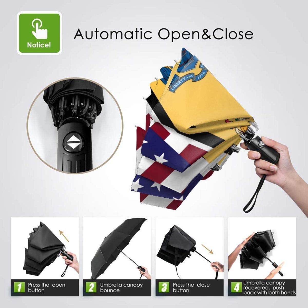 American And New Jersey State Flag Automatic Folding Umbrella Super Sunscreen Rain Portable Creative UV Protection Tri-Fold Umbrella