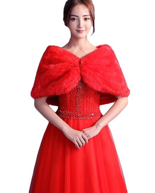 SK Studio Mujer Chale de Pelo Estola Rojo Fiesta Bolero Invierno Capa para Bodas Novia: Amazon.es: Ropa y accesorios
