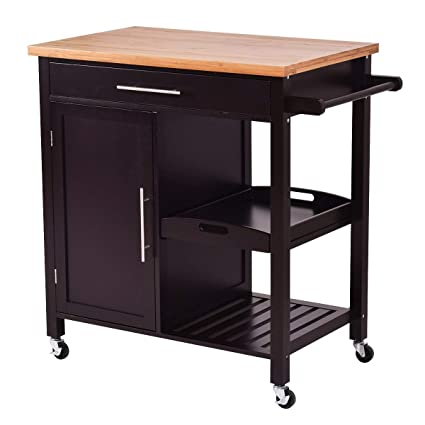 Giantex Kitchen Trolley Cart Wood Rolling Island Cart Home Restaurant  Kitchen Dining Room Serving Utility Cart