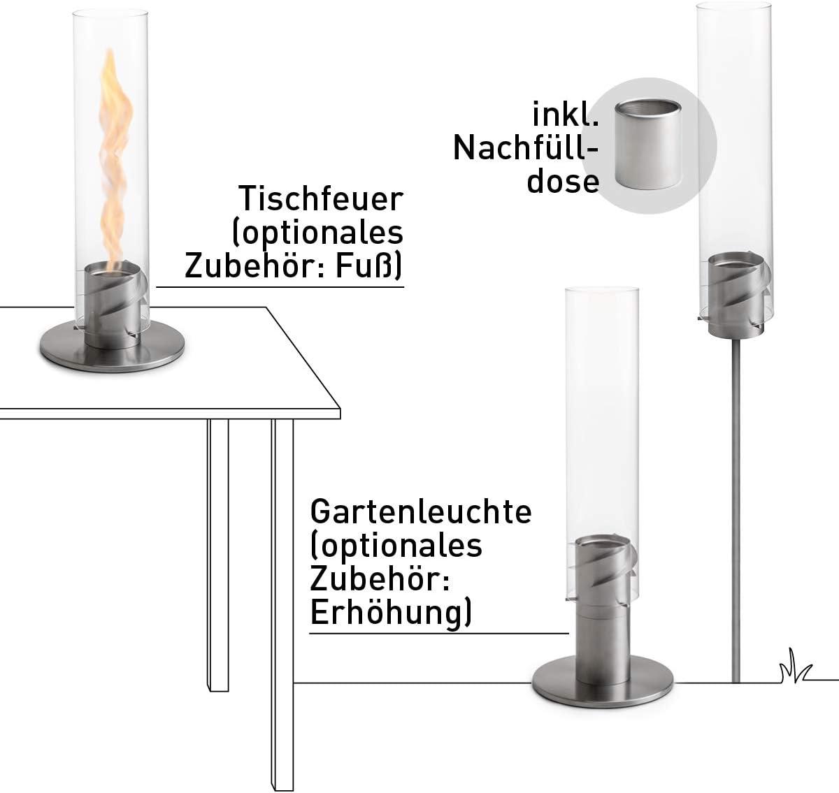 hochwertige Bioethanol GartenfackelSPIN 120 Silber aus Edelstahl inklusive Nachf/ülldose Terrasse und Camping h/öfats f/ür Garten