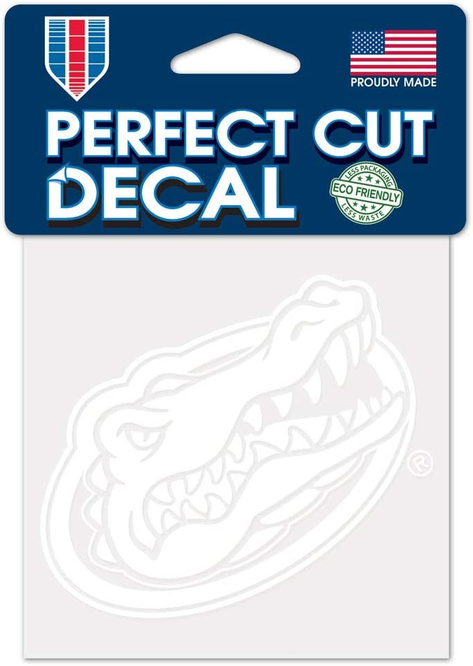 WinCraft NCAA Florida Gators 4x4 Perfect Cut White Decal, One Size, Team Color