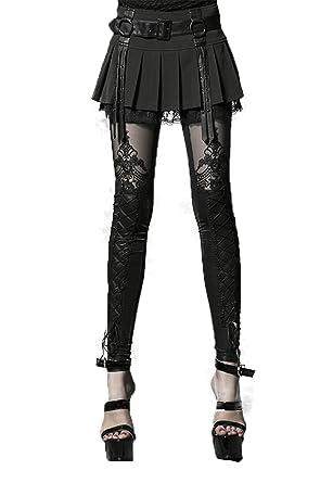 f96620caaed6 Punk Rave Damen Gothic Leggings Geprägte dekorative Muster Steampunk Skinny  Enge Leggings  Amazon.de  Bekleidung