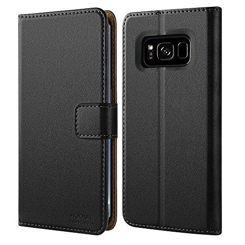 煩わしいオッズ呼吸する【HOOMIL】 Galaxy S8 Plus ケース 手帳型 薄型 Samsung Galaxy S8 Plus カバー 合皮レザー ギャラクシー S8 プラス ケース (Galaxy S8+, ブラック)