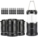 Consciot 4 Pack LED Camping Lantern with Collapsible Design, 400 Lumen, Portable Flashlight for Survival Kits, Emergencies, Storms, Hurricanes, (12 AA Batteries Included), Black
