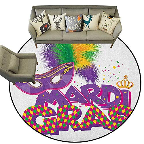 Mardi Gras,Office Floor mats Traditional Holiday Theme Colorful Fluffy Feathers Mask Crown Symbol D36 Rug Bathroom Mat