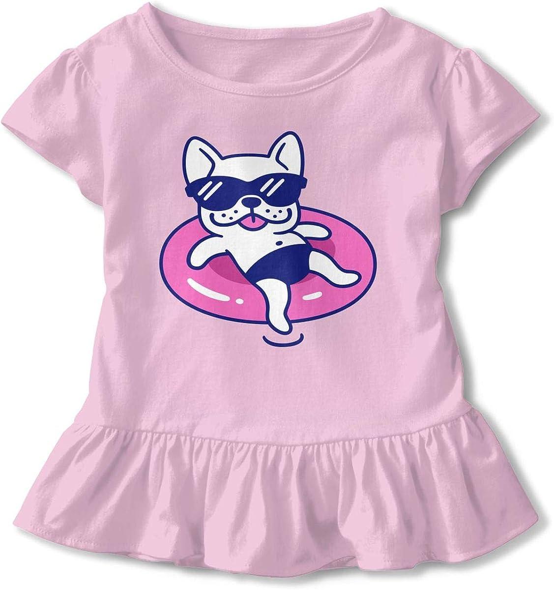 Cheng Jian Bo Frenchie French Bulldog Dog Toddler Girls T Shirt Kids Cotton Short Sleeve Ruffle Tee