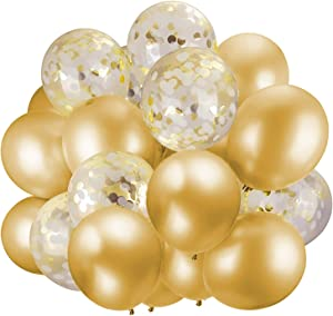 60 Pack Gold Balloons + Gold Confetti Balloons w/Ribbon   Balloons Gold   Gold Balloon   Gold Latex Balloons   Golden Balloons   Party Balloons 12 inch   Clear Balloons with Gold Confetti  