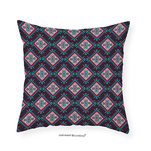 Vroselv Custom Cotton Linen Pillowcase Tribal Colorful Ethnic Moroccan Turkish Oriental Image Native Art With Black Backdrop For Bedroom Living Room Dorm Multicolor 12 X12