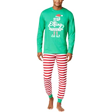 family pjs mens elf christmas holiday two piece pajamas green s - Elf Christmas Pajamas