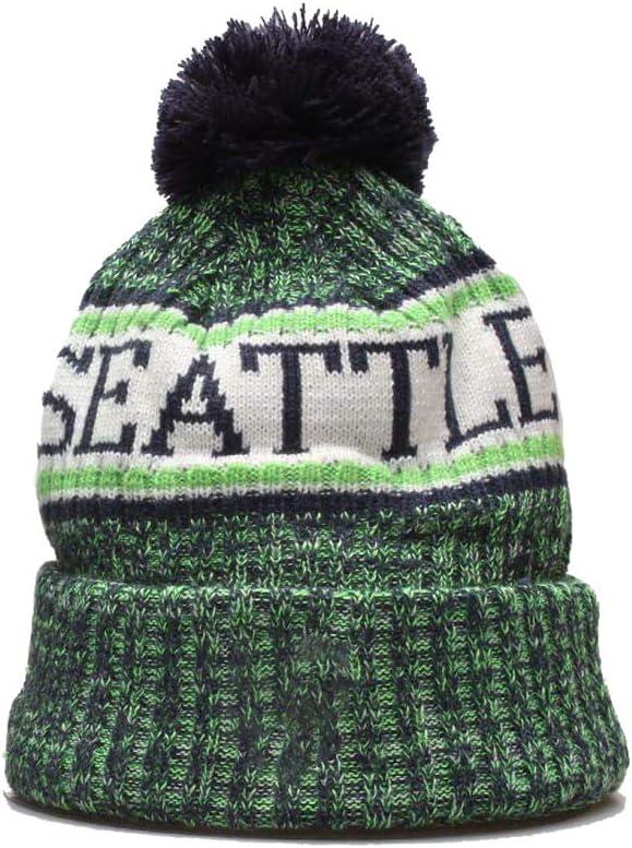 qooen 2020 New Fans Beanie hat Sideline Sport Fashion Knit hat Winter Pom Knit Hat Cap Team Logo