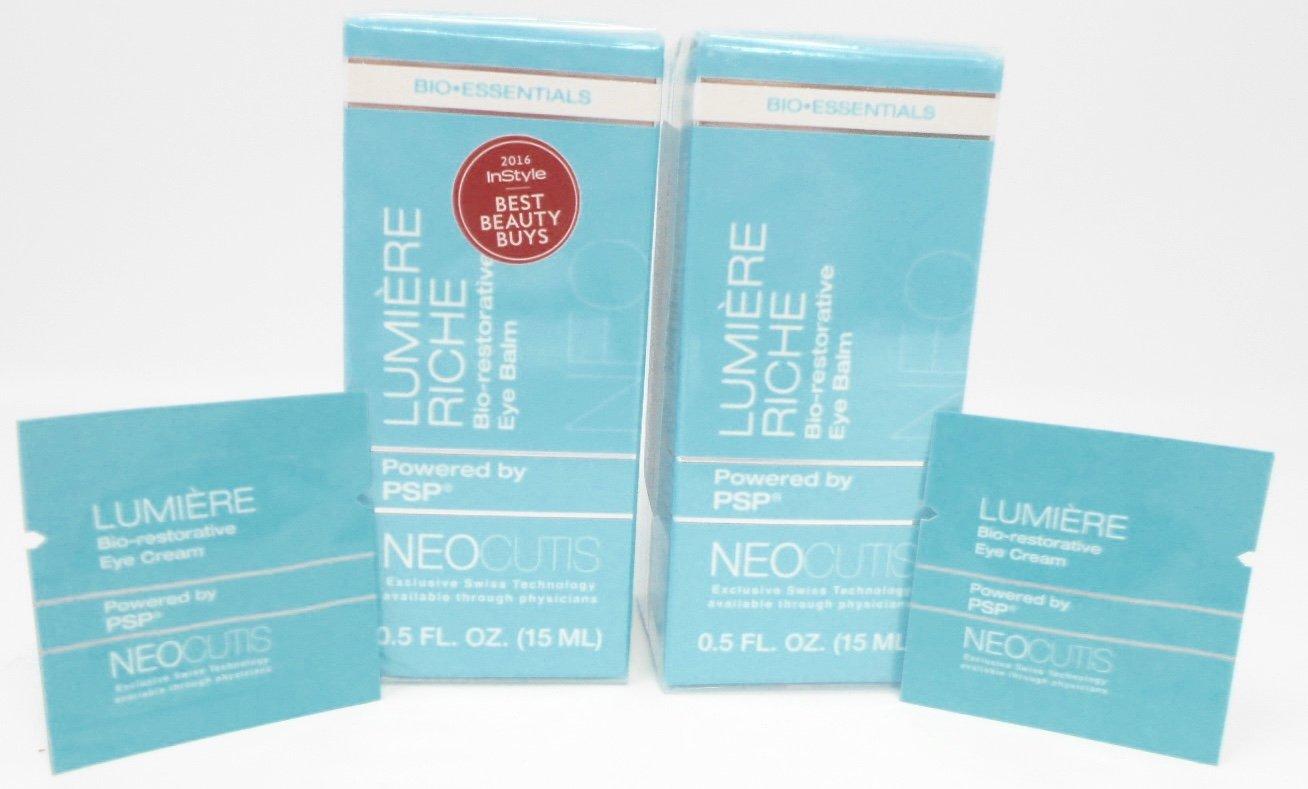 Neocutis Lumiere Riche Bio-restorative Eye Balm with PSP Anti-Aging, 0.5 Fl.Oz. (15ml) (2-Pack) w (2) Free Neocutis Lumiere Bio-restorative Eye Cream Samples Bundle