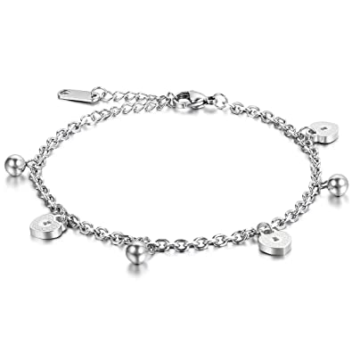 AllRight 925 Silver Adjustable Five Heart Foot Anklet Bracelet 4YXia35tG
