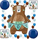 Baby Shower Party We Can Bearly Wait It's a Boy Supplies Birthday Balloon Decoration Bundle (It's A Boy Bear)