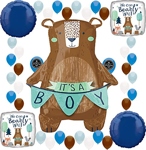 Baby Shower Party We Can Bearly Wait It's a Boy Supplies Birthday Balloon Decoration Bundle (It's A Boy -