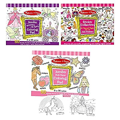Melissa & Doug Sticker Collection and Coloring Pads Set: Princesses, Fairies, Animals, and More: Melissa & Doug: Toys & Games