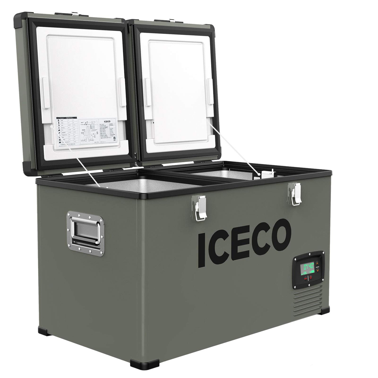 ICECO VL60 Dual Zone Portable Refrigerator with SECOP Compressor, 60 Liters Platinum Compact Refrigerator, DC 12/24V, AC 110-240V, 0℉ to 50℉, Home & Car Use (with Insulated Cover)
