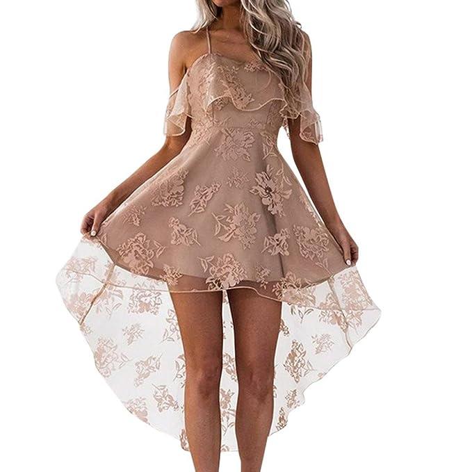 Feixiang Vestido de Mujer Falda Elegante de Noche para Boda Fiesta Vacaciones Falda con Tirantes de Hombro Vestido Encaje Moda: Amazon.es: Ropa y accesorios