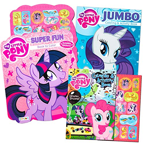 My Little Pony Coloring Book Super Set with Stickers (3 Jumbo Books - Approximately 200 Pages and 30 My Little Pony Stickers Total Featuring Rainbow Dash, Fluttershy, Pinkie Pie and -