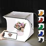 PULUZ 20cm x 20cm x 20cm Mini Photography Light Box Portable Photo Studio Shooting Tent Foldable Table top Mini LED lighting Kit with Integrated LED Lights & 6 Colors Backdrops