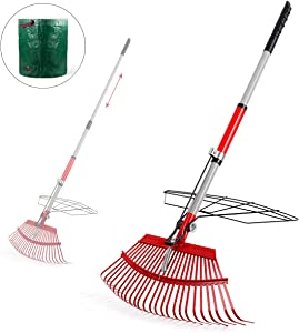 """Garden Rake, 38""""- 56""""Leaf Rake with 72 Gal Reusable Garden Waste Bag,Adjustable Rake and Grabber Set for Gardener, 25 Tines Steel Head, 21"""" Wide, Harrow Outdoor Tools for Collect Leaves and Dead Grass"""