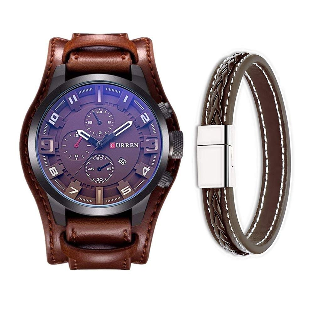 Amazon.com: CURREN Mens Fashion Military Classic Leather Strap Watch, Calendar, Date Display (Brown): Watches